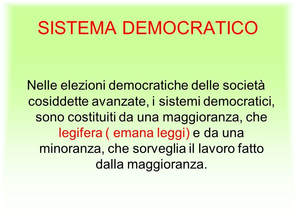 SISTEMA DEMOCRATICO Nelle elezioni democratiche delle società cosiddette avanzate, i sistemi democratici, sono costituiti da una maggioranza, che legifera ( emana leggi) e da una minoranza, che sorveglia il lavoro fatto dalla maggioranza.