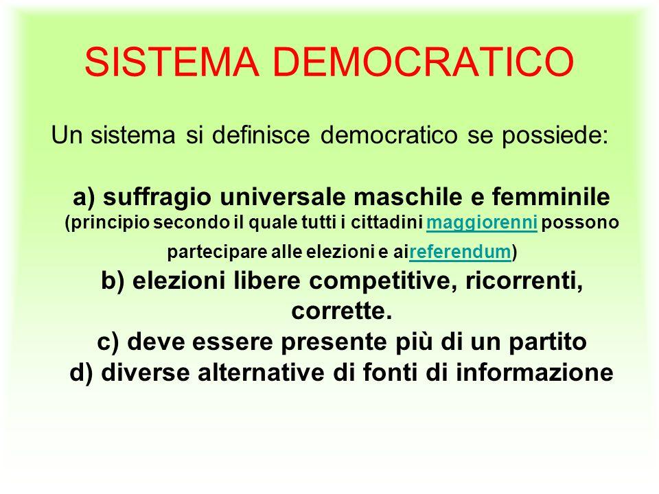 SISTEMA DEMOCRATICO Un sistema si definisce democratico se possiede: a) suffragio universale maschile e femminile (principio secondo il quale tutti i cittadini maggiorenni possono partecipare alle elezioni e aireferendum) b) elezioni libere competitive, ricorrenti, corrette.