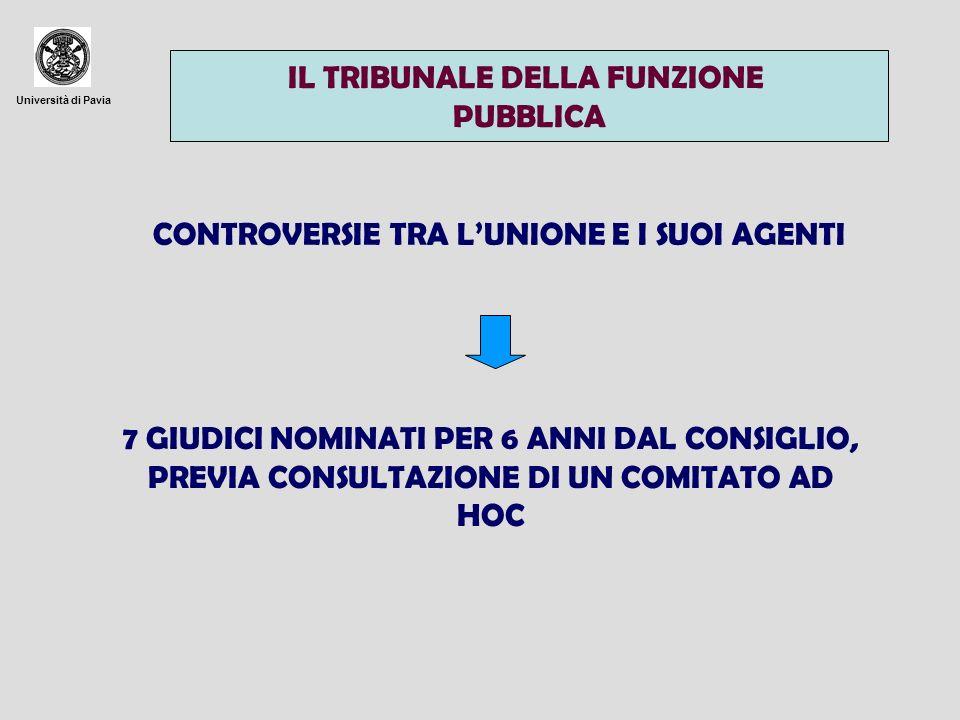 Università di Pavia TRIBUNALE DELLA FUNZIONE PUBBLICA TRIBUNALE DI PRIMO GRADO QUANDO ESERCITA COMPETENZE PREGIUDIZIALI IMPUGNAZIONE PER MOTIVI DI DIRITTO DINANZI AL TRIBUNALE DI PRIMO GRADO TRIBUNALE DI PRIMO GRADO IMPUGNAZIONE PER MOTIVI DI DIRITTO DINANZI ALLA CORTE (CHE DECIDE LA CONTROVERSIA O RINVIA AL TRIBUNALE) LARTICOLAZIONE TRA I VARI ORGANI RIESAME DA PARTE DELLA CORTE SE VI E RISCHIO DI PREGIUDIZIO DELLUNITA E DELLA COERENZA DEL DIRITTO COMUNITARIO