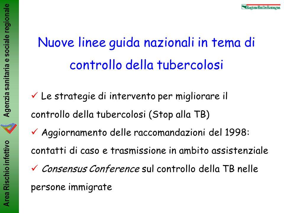 Agenzia sanitaria e sociale regionale Area Rischio infettivo Nuove linee guida nazionali in tema di controllo della tubercolosi Le strategie di interv