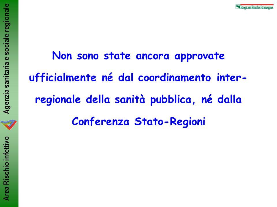 Agenzia sanitaria e sociale regionale Area Rischio infettivo Non sono state ancora approvate ufficialmente né dal coordinamento inter- regionale della