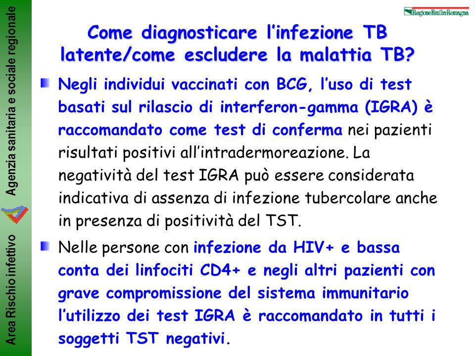 Agenzia sanitaria e sociale regionale Area Rischio infettivo Negli individui vaccinati con BCG, luso di test basati sul rilascio di interferon-gamma (