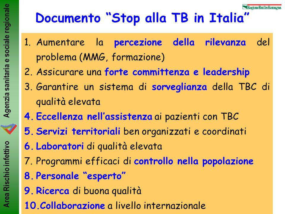 Agenzia sanitaria e sociale regionale Area Rischio infettivo Documento Stop alla TB in Italia 1.Aumentare la percezione della rilevanza del problema (