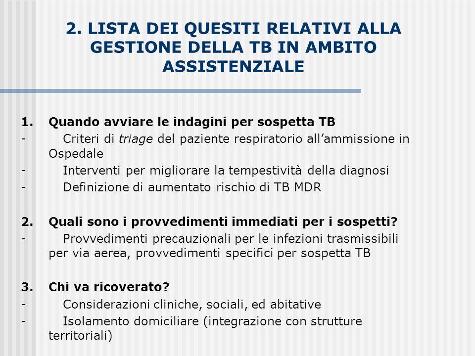 2. LISTA DEI QUESITI RELATIVI ALLA GESTIONE DELLA TB IN AMBITO ASSISTENZIALE 1. Quando avviare le indagini per sospetta TB - Criteri di triage del paz