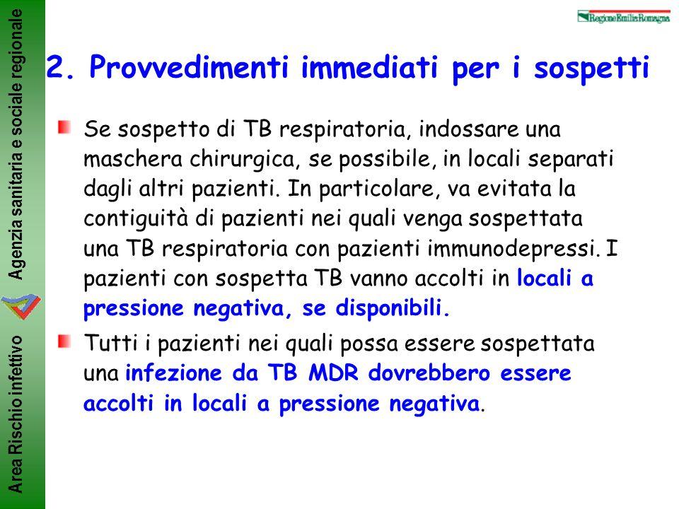Agenzia sanitaria e sociale regionale Area Rischio infettivo 2. Provvedimenti immediati per i sospetti Se sospetto di TB respiratoria, indossare una m