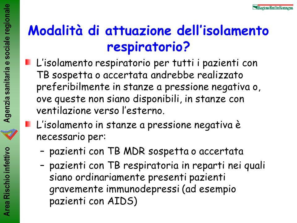 Agenzia sanitaria e sociale regionale Area Rischio infettivo Modalità di attuazione dellisolamento respiratorio? Lisolamento respiratorio per tutti i
