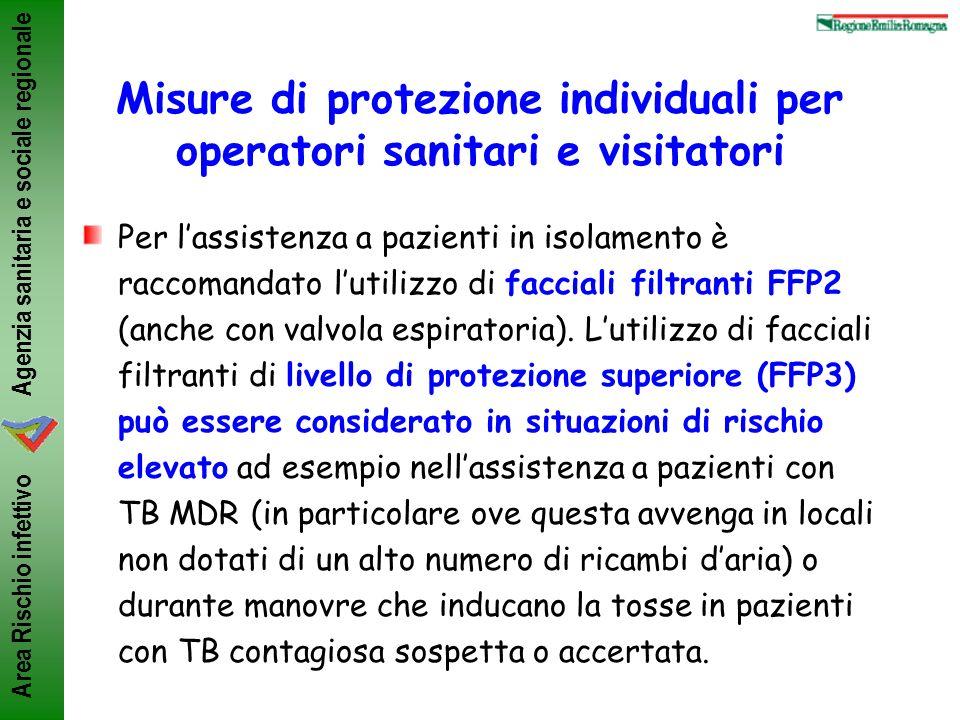 Agenzia sanitaria e sociale regionale Area Rischio infettivo Misure di protezione individuali per operatori sanitari e visitatori Per lassistenza a pa