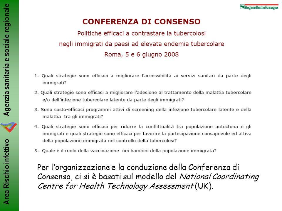 Agenzia sanitaria e sociale regionale Area Rischio infettivo Per lorganizzazione e la conduzione della Conferenza di Consenso, ci si è basati sul mode
