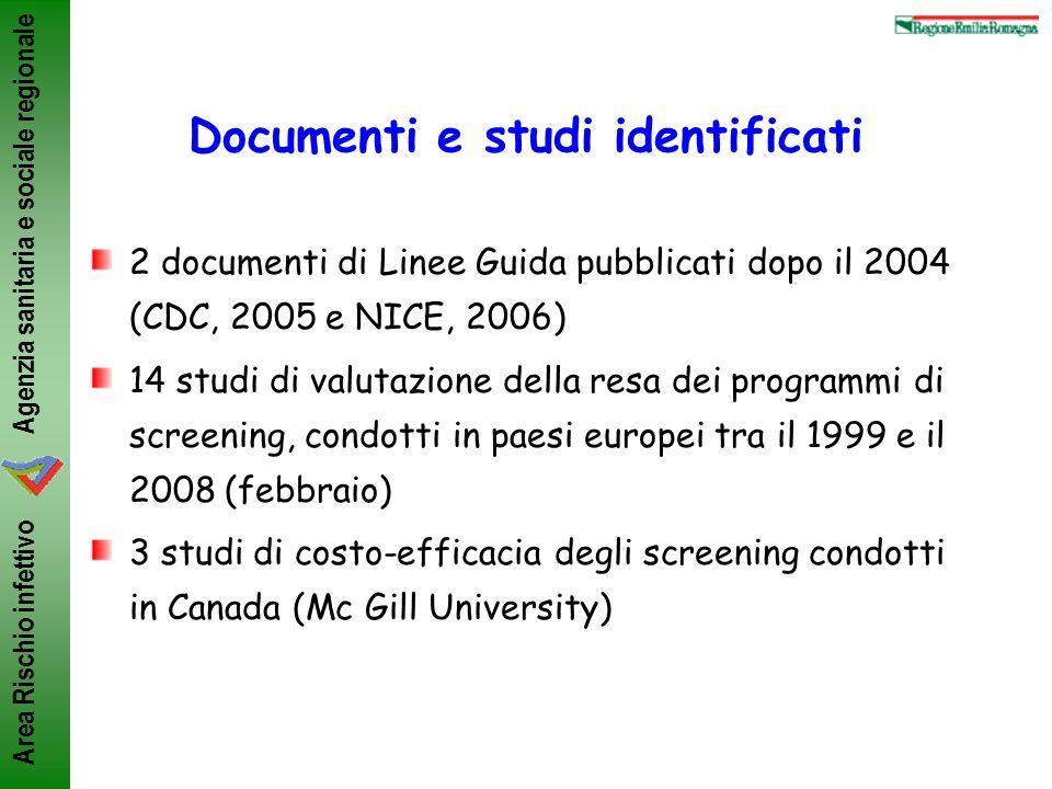 Agenzia sanitaria e sociale regionale Area Rischio infettivo Documenti e studi identificati 2 documenti di Linee Guida pubblicati dopo il 2004 (CDC, 2
