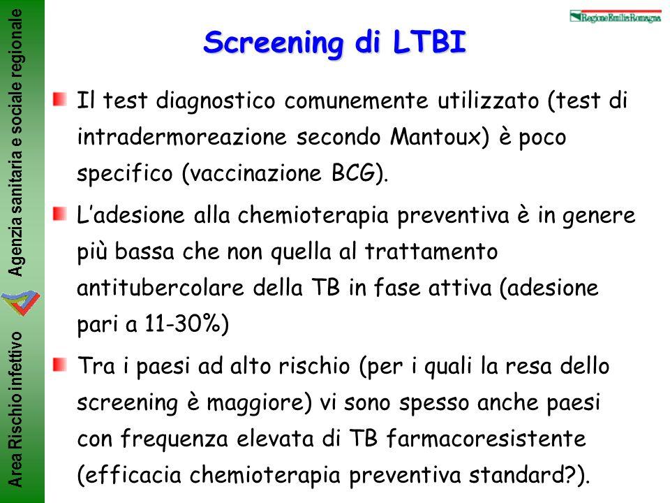 Agenzia sanitaria e sociale regionale Area Rischio infettivo Screening di LTBI Il test diagnostico comunemente utilizzato (test di intradermoreazione