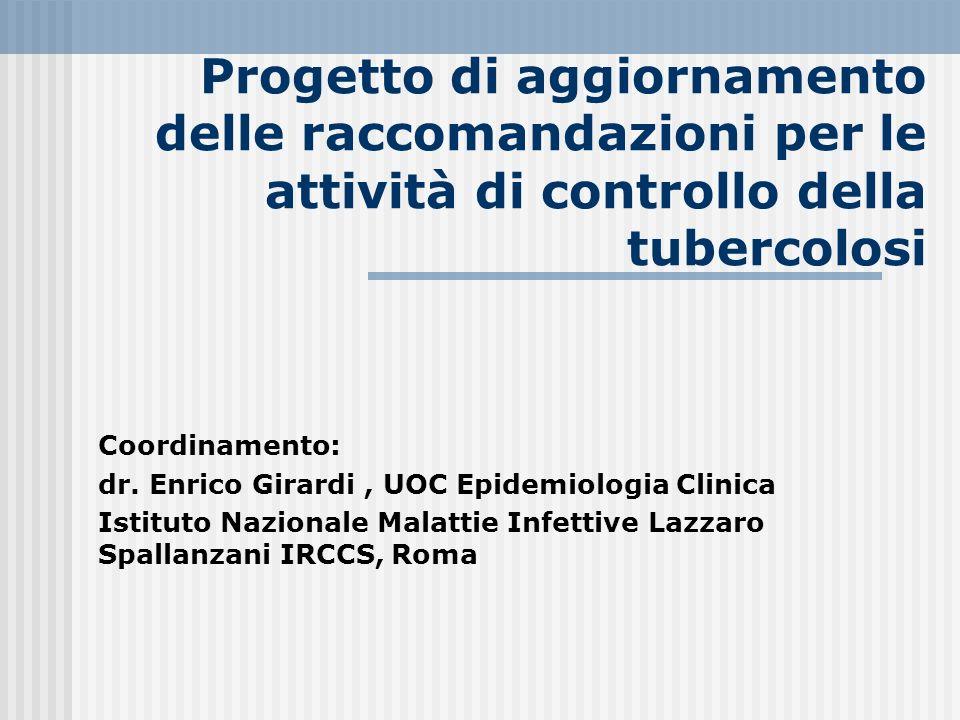 Progetto di aggiornamento delle raccomandazioni per le attività di controllo della tubercolosi Coordinamento: dr. Enrico Girardi, UOC Epidemiologia Cl