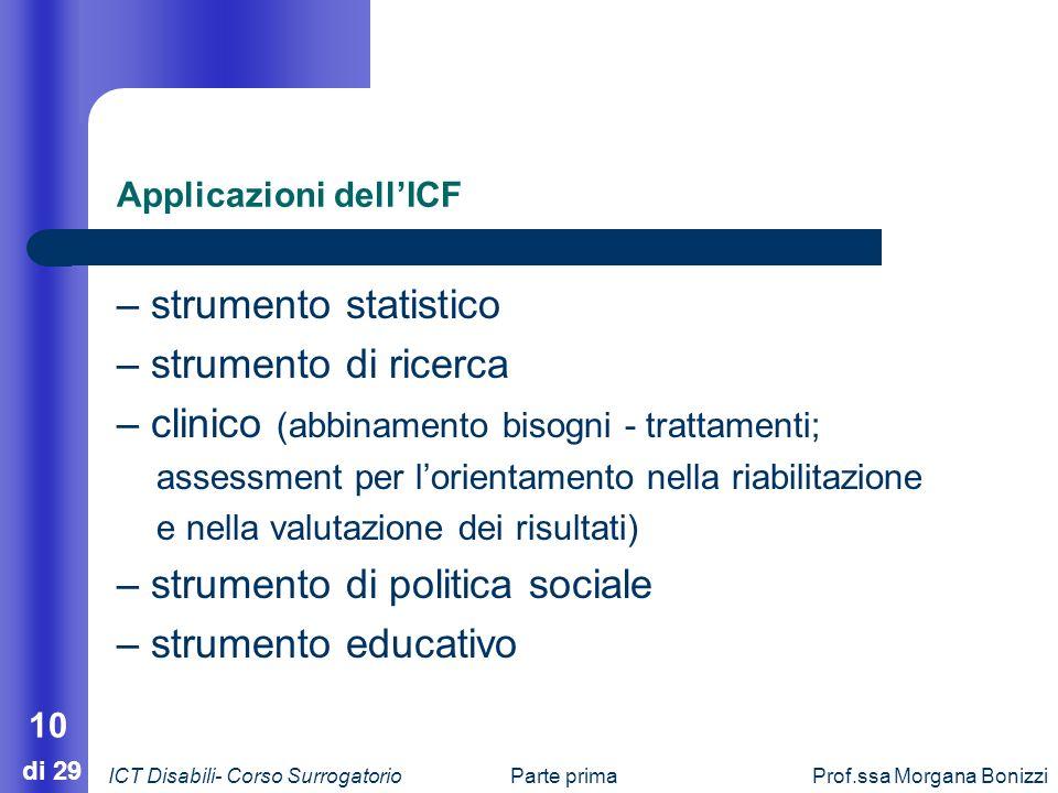 Parte primaProf.ssa Morgana Bonizzi 10 di 29 Applicazioni dellICF – strumento statistico – strumento di ricerca – clinico (abbinamento bisogni - tratt
