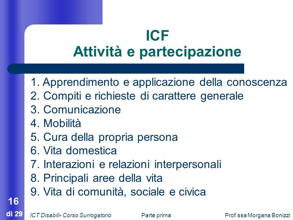 Parte primaProf.ssa Morgana Bonizzi 16 di 29 ICF Attività e partecipazione 1. Apprendimento e applicazione della conoscenza 2. Compiti e richieste di
