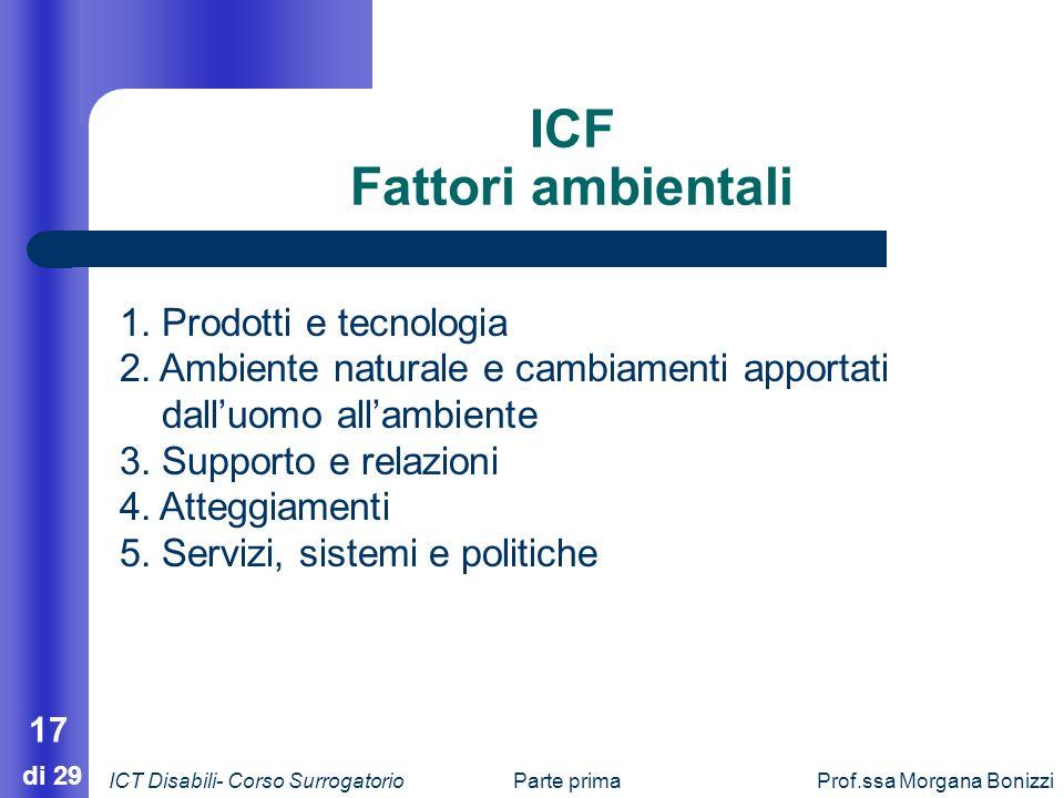 Parte primaProf.ssa Morgana Bonizzi 17 di 29 1. Prodotti e tecnologia 2. Ambiente naturale e cambiamenti apportati dalluomo allambiente 3. Supporto e