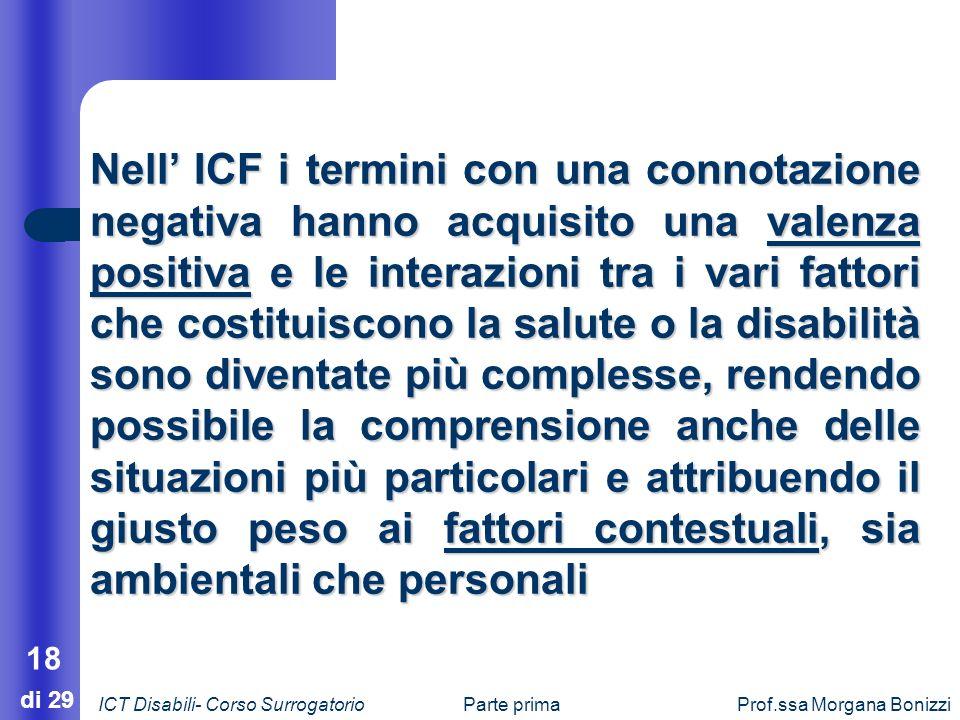 Parte primaProf.ssa Morgana Bonizzi 18 di 29 Nell ICF i termini con una connotazione negativa hanno acquisito una valenza positiva e le interazioni tr