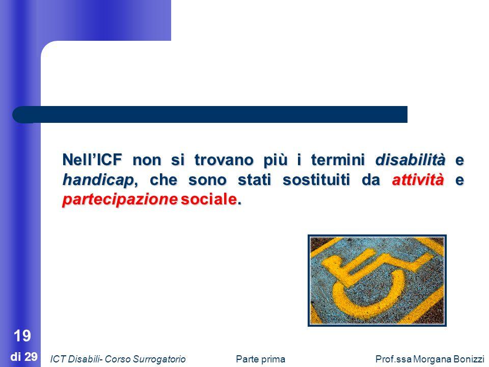 Parte primaProf.ssa Morgana Bonizzi 19 di 29 NellICF non si trovano più i termini disabilità e handicap, che sono stati sostituiti da attività e parte
