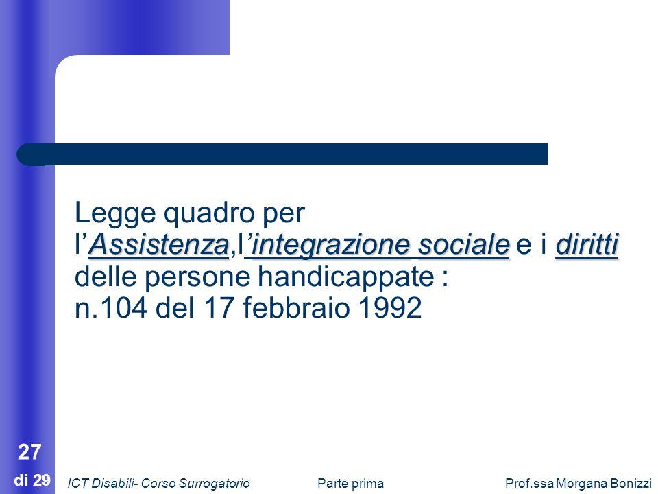 Parte primaProf.ssa Morgana Bonizzi 27 di 29 Assistenzaintegrazionesocialediritti Legge quadro per lAssistenza,lintegrazione sociale e i diritti delle