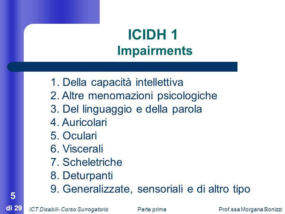 Parte primaProf.ssa Morgana Bonizzi 5 di 29 ICIDH 1 Impairments 1. Della capacità intellettiva 2. Altre menomazioni psicologiche 3. Del linguaggio e d