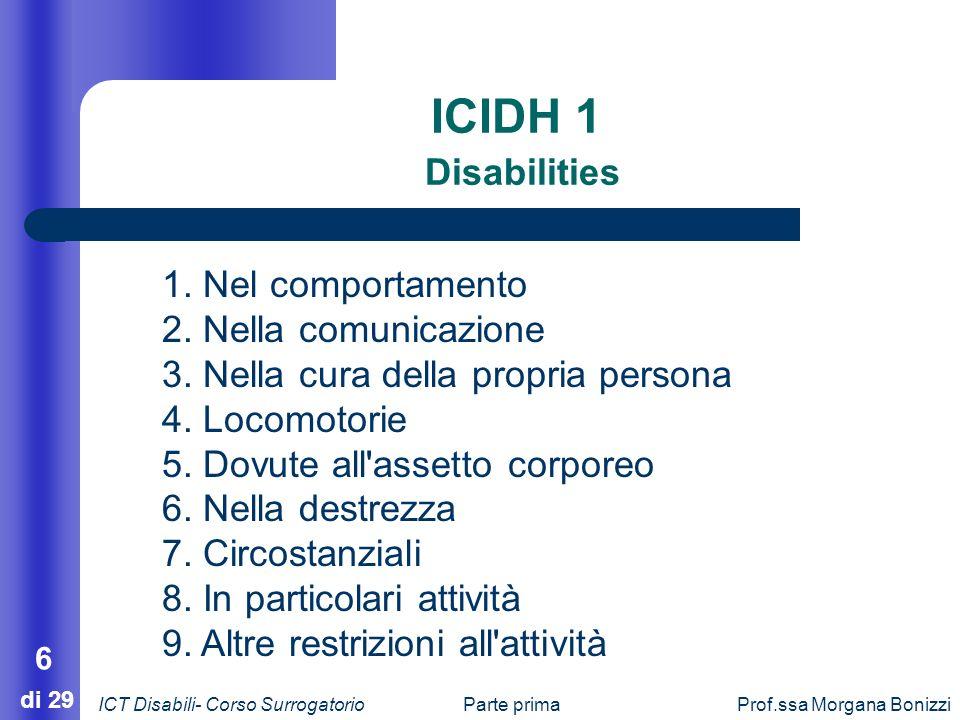 Parte primaProf.ssa Morgana Bonizzi 6 di 29 ICIDH 1 Disabilities 1. Nel comportamento 2. Nella comunicazione 3. Nella cura della propria persona 4. Lo
