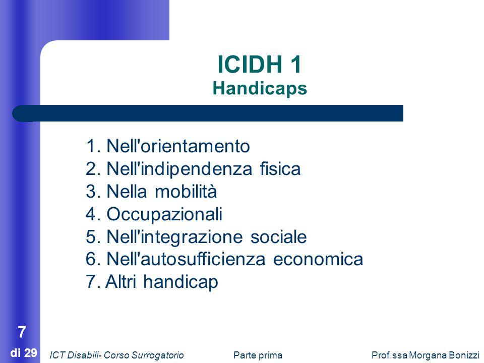 Parte primaProf.ssa Morgana Bonizzi 7 di 29 ICIDH 1 Handicaps 1. Nell'orientamento 2. Nell'indipendenza fisica 3. Nella mobilità 4. Occupazionali 5. N