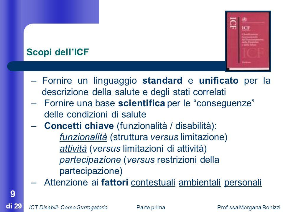 Parte primaProf.ssa Morgana Bonizzi 9 di 29 Scopi dellICF – Fornire un linguaggio standard e unificato per la descrizione della salute e degli stati c