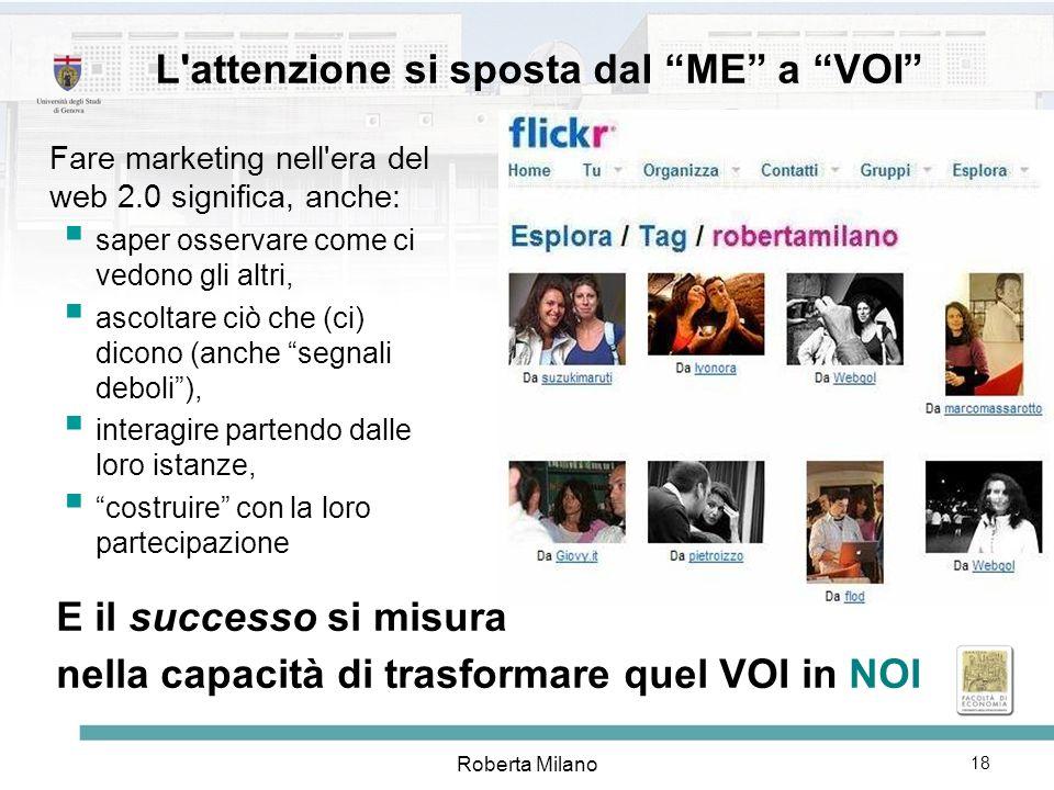 Roberta Milano 19 IL MARKETING AI TEMPI DEL WEB Se si vuole far marketing nel mondo del medium orizzontale fatto dalle persone, questa consapevolezza ha conseguenze fondamentali.