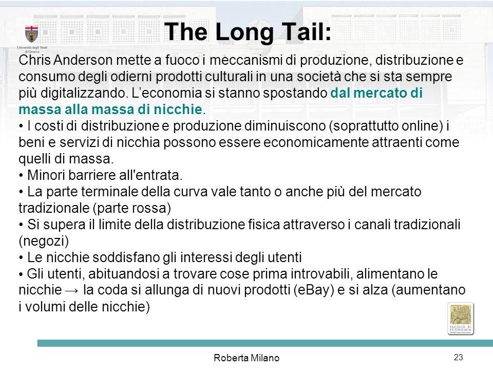 Roberta Milano 24 The Long Tail: da un mercato di massa a una massa di nicchie