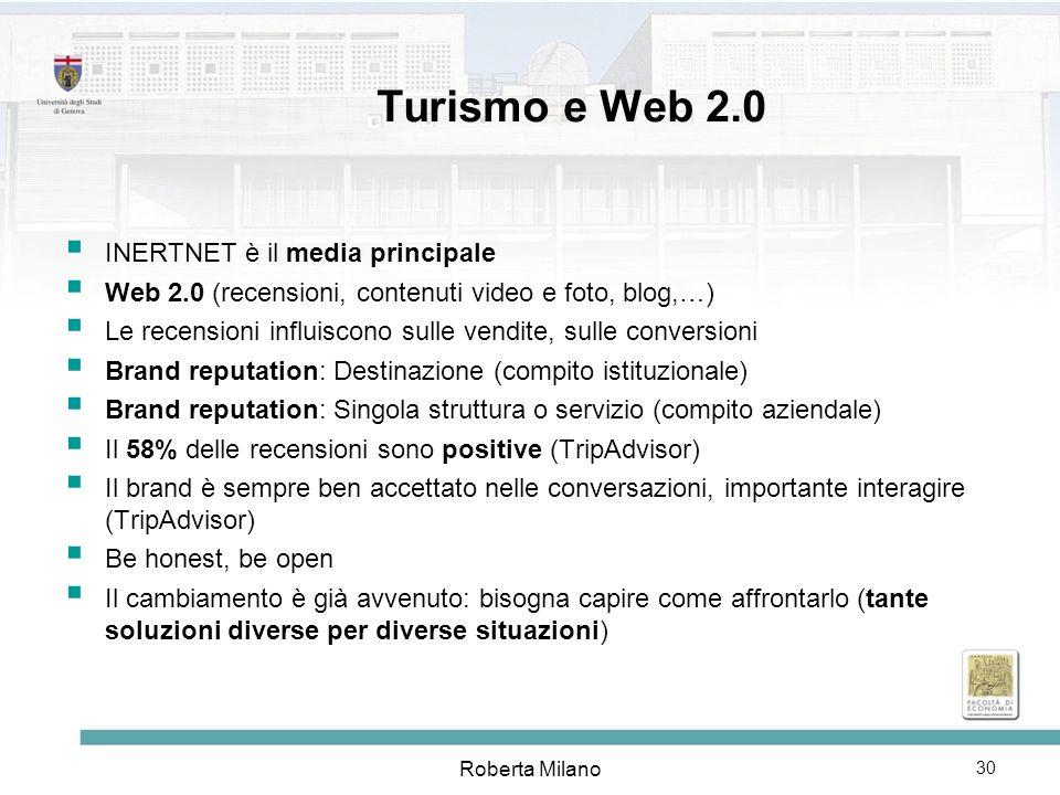 Roberta Milano 31 LA DOMANDA TURISTICA e il WEB 2.0 fonte: Country Brand Index 2007 (Future Brand) Motivi di tanto successo: la facile e veloce reperibilità delle informazioni; lampiezza e il livello di profondità con cui vengono affrontati; limportanza e linfluenza dei contenuti generati dagli utenti/consumatori (UGC), considerati più attendibili dellinformazione ufficiale Coprendo ogni immaginabile bisogno dei potenziali turisti, il Web si conferma come la più importante fonte di informazioni, consigli, socializzazione e… transazione.