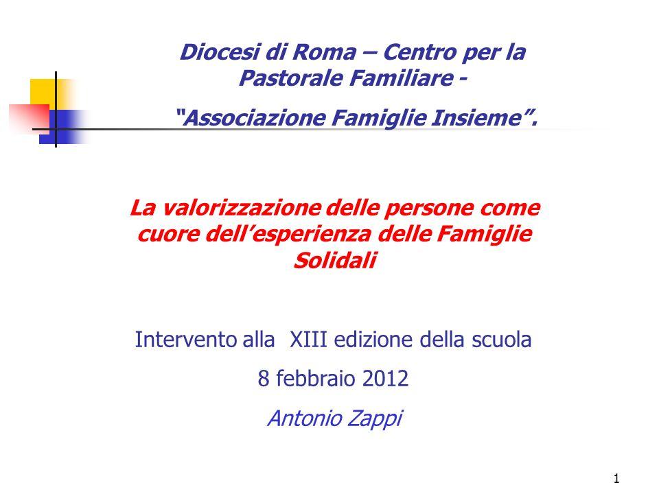 1 Diocesi di Roma – Centro per la Pastorale Familiare - Associazione Famiglie Insieme. La valorizzazione delle persone come cuore dellesperienza delle