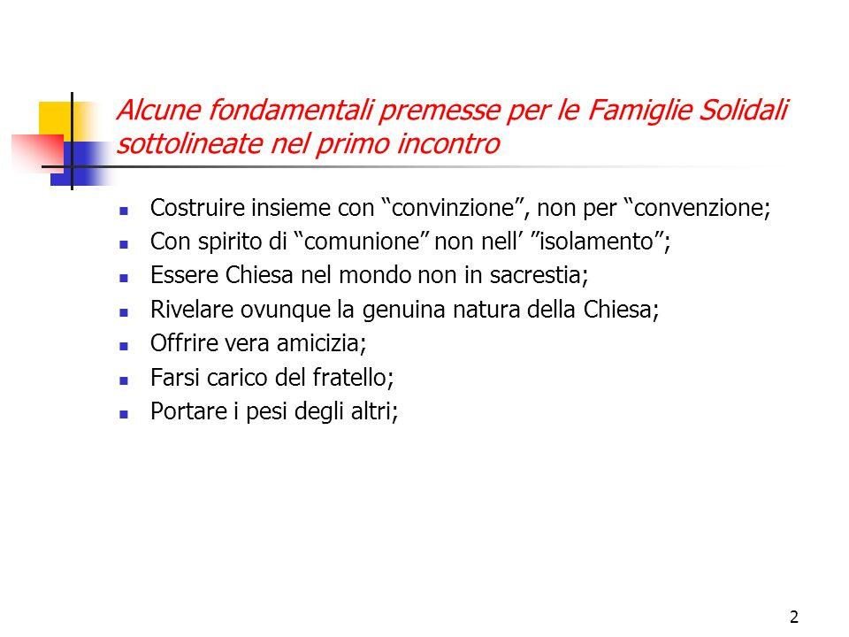 2 Alcune fondamentali premesse per le Famiglie Solidali sottolineate nel primo incontro Costruire insieme con convinzione, non per convenzione; Con sp