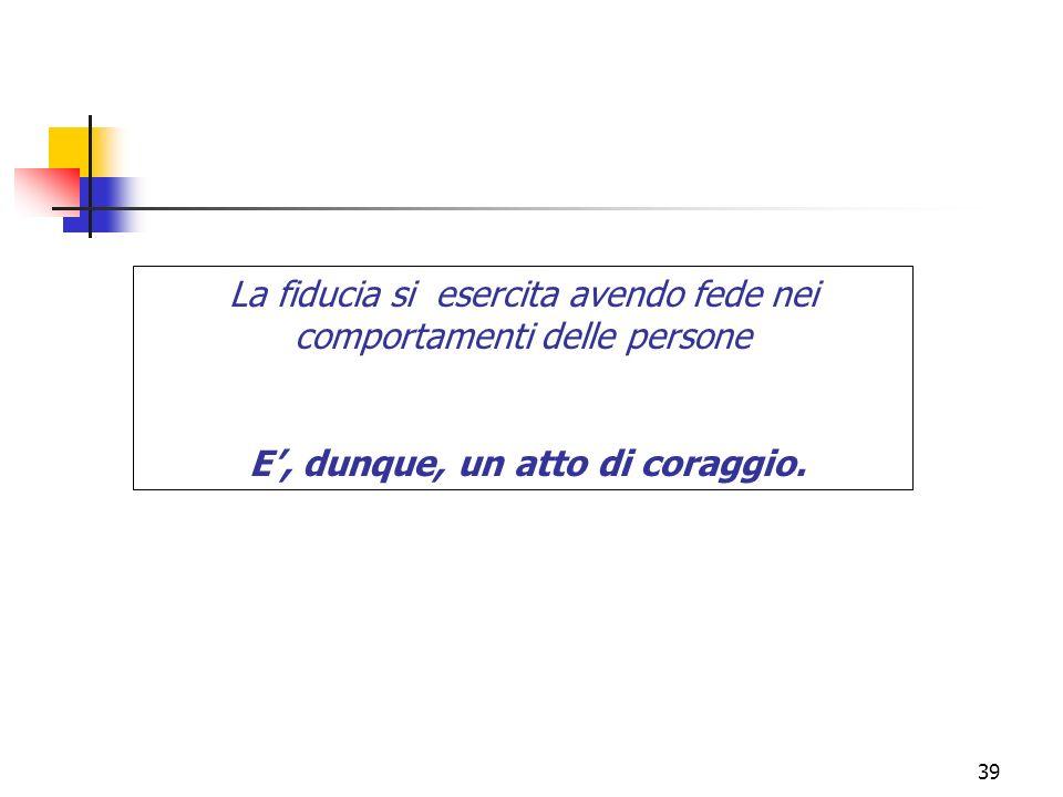 39 La fiducia si esercita avendo fede nei comportamenti delle persone E, dunque, un atto di coraggio.
