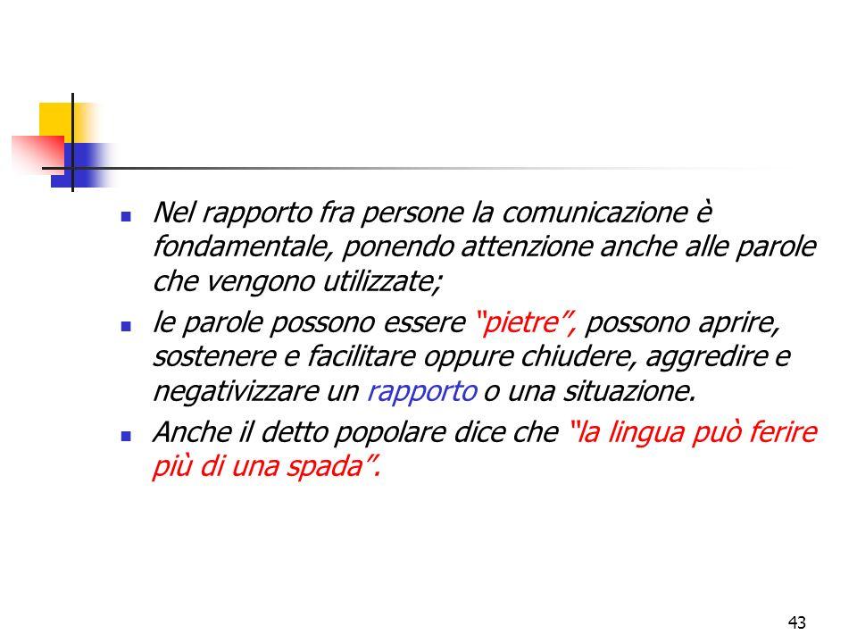 43 Nel rapporto fra persone la comunicazione è fondamentale, ponendo attenzione anche alle parole che vengono utilizzate; le parole possono essere pie