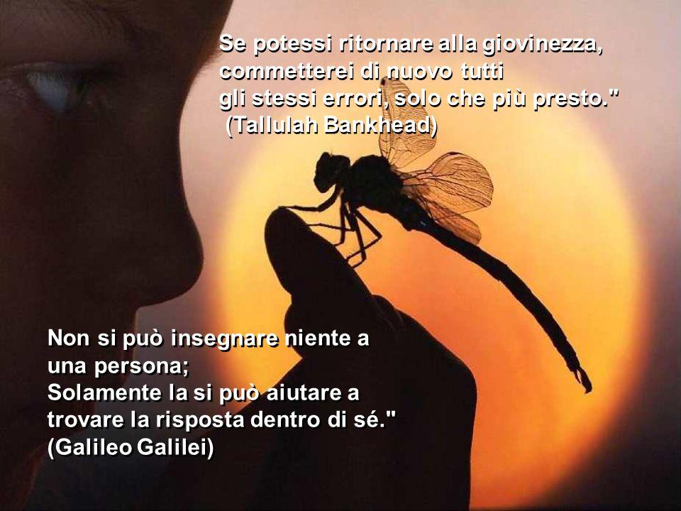 Se potessi ritornare alla giovinezza, commetterei di nuovo tutti gli stessi errori, solo che più presto. (Tallulah Bankhead) Se potessi ritornare alla giovinezza, commetterei di nuovo tutti gli stessi errori, solo che più presto. (Tallulah Bankhead) Non si può insegnare niente a una persona; Solamente la si può aiutare a trovare la risposta dentro di sé. (Galileo Galilei) Non si può insegnare niente a una persona; Solamente la si può aiutare a trovare la risposta dentro di sé. (Galileo Galilei)