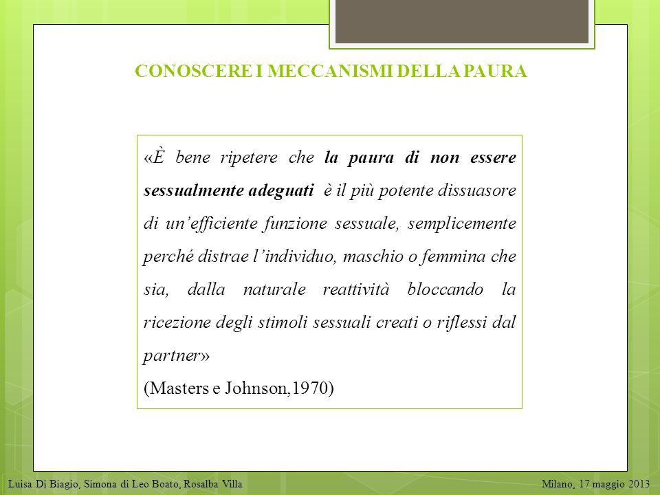 «È bene ripetere che la paura di non essere sessualmente adeguati è il più potente dissuasore di unefficiente funzione sessuale, semplicemente perché