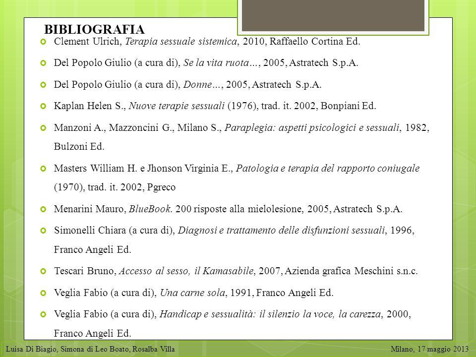 BIBLIOGRAFIA Clement Ulrich, Terapia sessuale sistemica, 2010, Raffaello Cortina Ed. Del Popolo Giulio (a cura di), Se la vita ruota…, 2005, Astratech