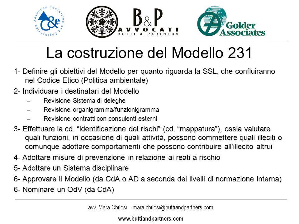 avv. Mara Chilosi – mara.chilosi@buttiandpartners.com www.buttiandpartners.com La costruzione del Modello 231 Definire gli obiettivi del Modello per q