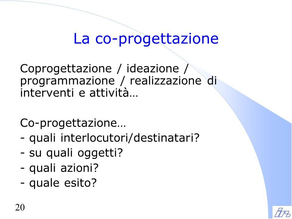 20 La co-progettazione Coprogettazione / ideazione / programmazione / realizzazione di interventi e attività… Co-progettazione… - quali interlocutori/destinatari.