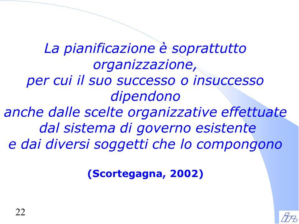 22 La pianificazione è soprattutto organizzazione, per cui il suo successo o insuccesso dipendono anche dalle scelte organizzative effettuate dal sistema di governo esistente e dai diversi soggetti che lo compongono (Scortegagna, 2002)