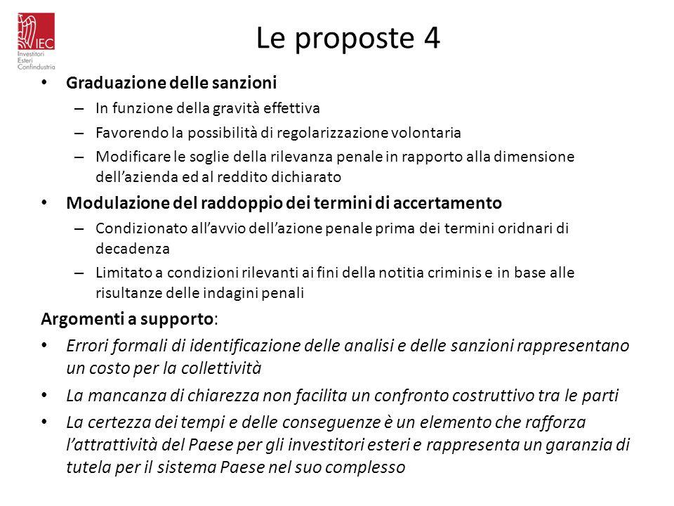Le proposte 4 Graduazione delle sanzioni – In funzione della gravità effettiva – Favorendo la possibilità di regolarizzazione volontaria – Modificare