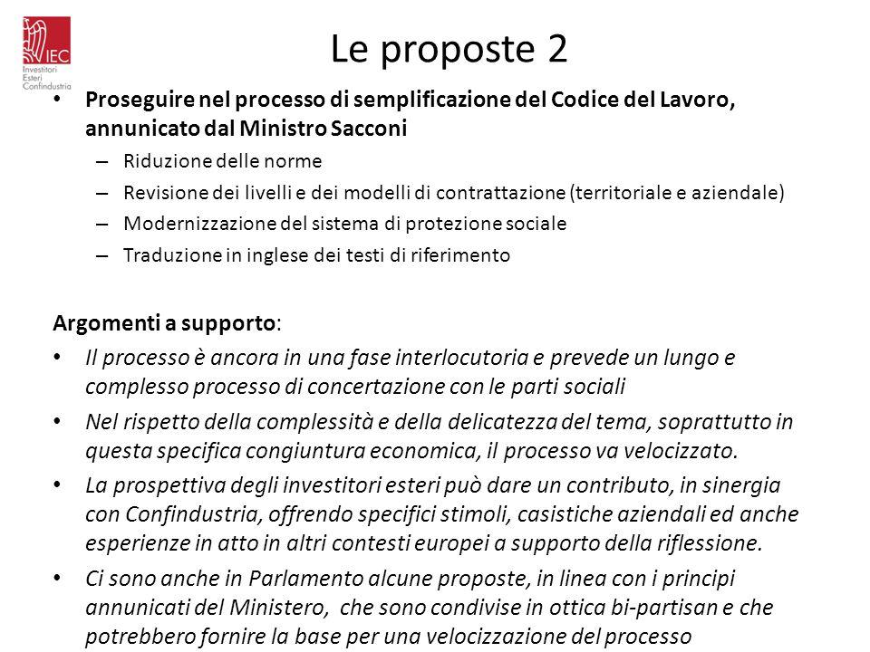 Le proposte 2 Proseguire nel processo di semplificazione del Codice del Lavoro, annunicato dal Ministro Sacconi – Riduzione delle norme – Revisione de