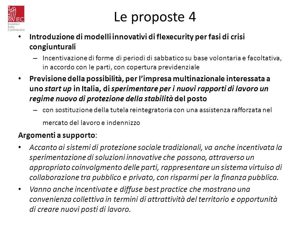 Le proposte 4 Introduzione di modelli innovativi di flexecurity per fasi di crisi congiunturali – Incentivazione di forme di periodi di sabbatico su b