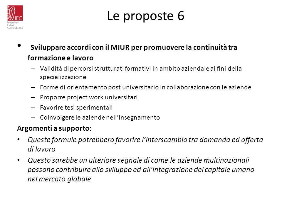 Le proposte 6 Sviluppare accordi con il MIUR per promuovere la continuità tra formazione e lavoro – Validità di percorsi strutturati formativi in ambi
