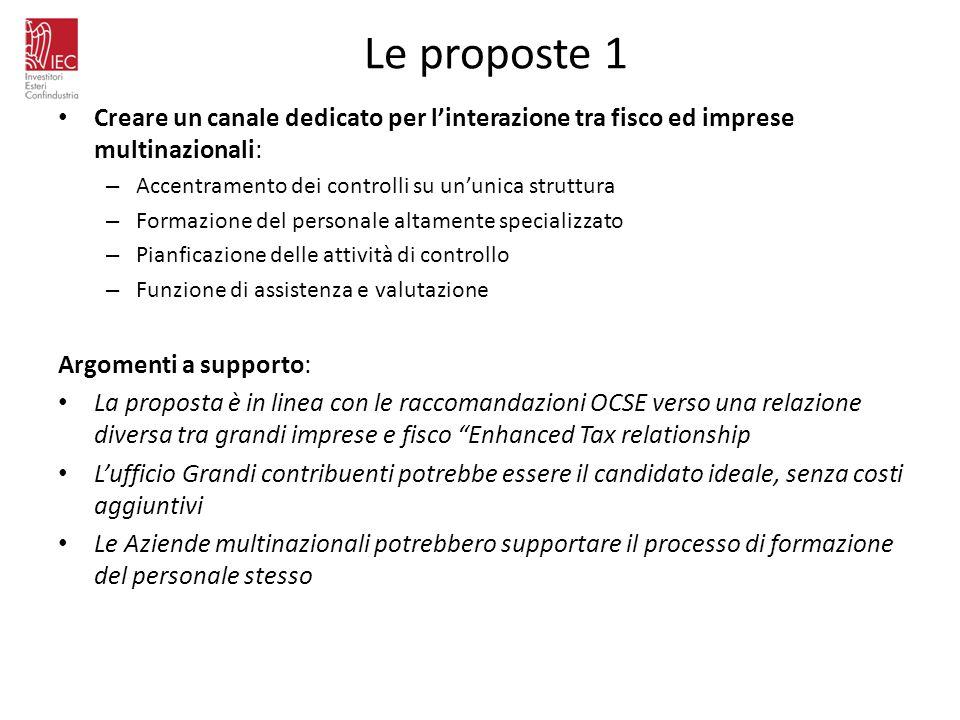 Le proposte 1 Creare un canale dedicato per linterazione tra fisco ed imprese multinazionali: – Accentramento dei controlli su ununica struttura – For