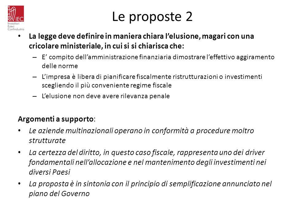 Le proposte 2 La legge deve definire in maniera chiara lelusione, magari con una cricolare ministeriale, in cui si si chiarisca che: – E compito della