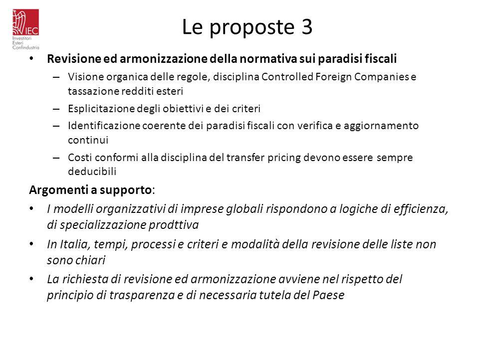 Le proposte 3 Revisione ed armonizzazione della normativa sui paradisi fiscali – Visione organica delle regole, disciplina Controlled Foreign Companie