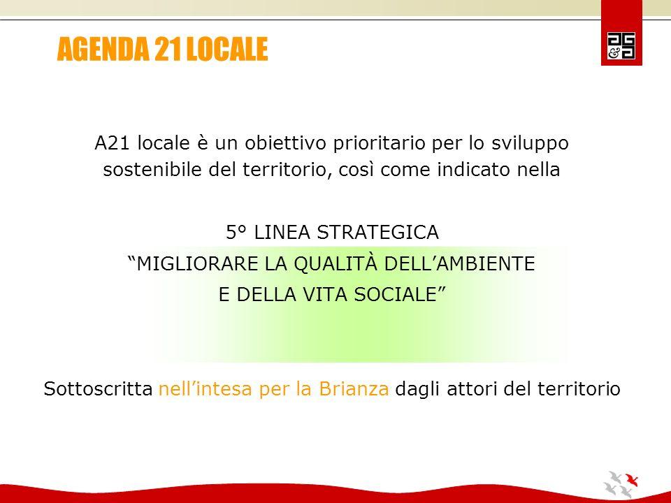 A21 locale è un obiettivo prioritario per lo sviluppo sostenibile del territorio, così come indicato nella 5° LINEA STRATEGICA MIGLIORARE LA QUALITÀ DELLAMBIENTE E DELLA VITA SOCIALE Sottoscritta nellintesa per la Brianza dagli attori del territorio AGENDA 21 LOCALE