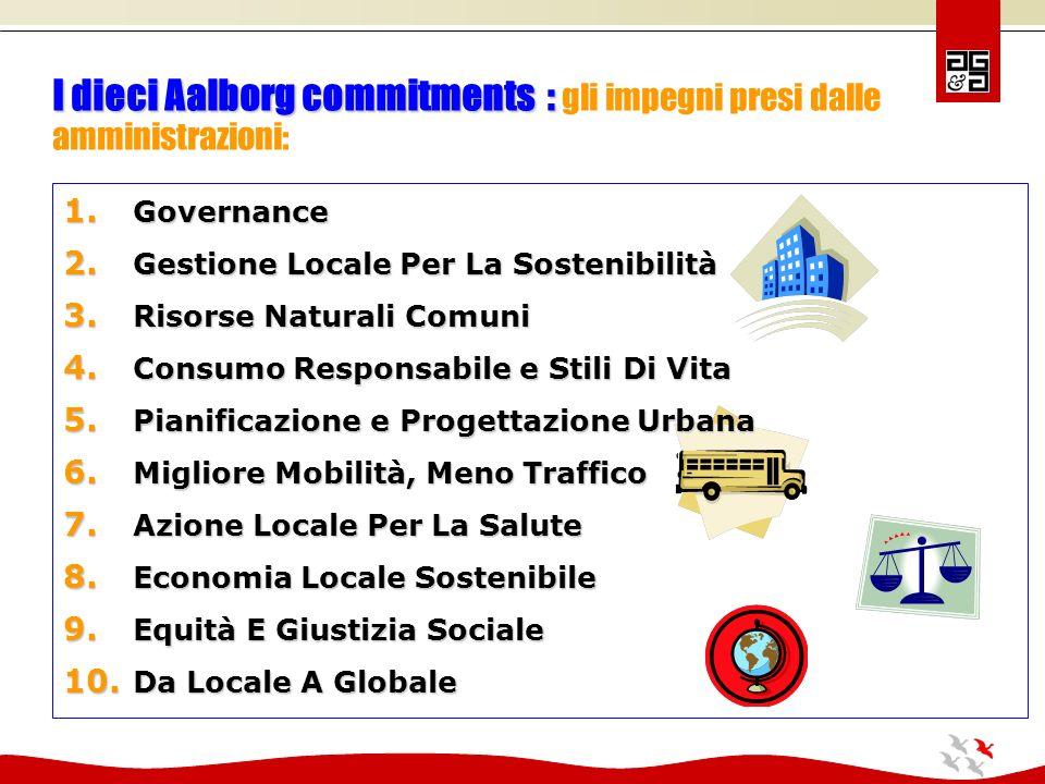 I dieci Aalborg commitments : I dieci Aalborg commitments : gli impegni presi dalle amministrazioni: 1.