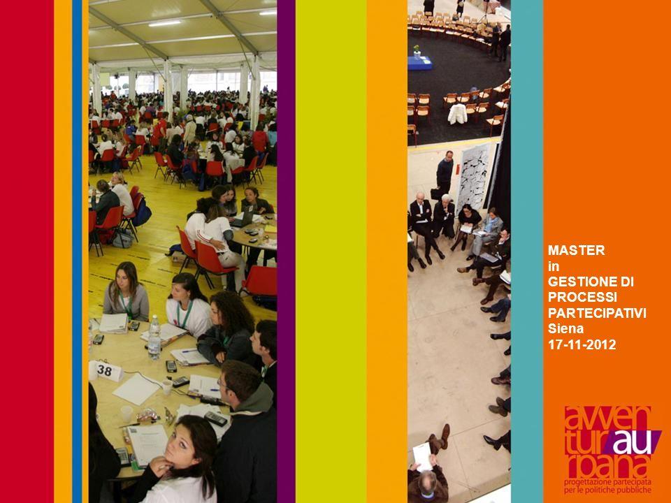 MASTER in GESTIONE DI PROCESSI PARTECIPATIVI Siena 17-11-2012