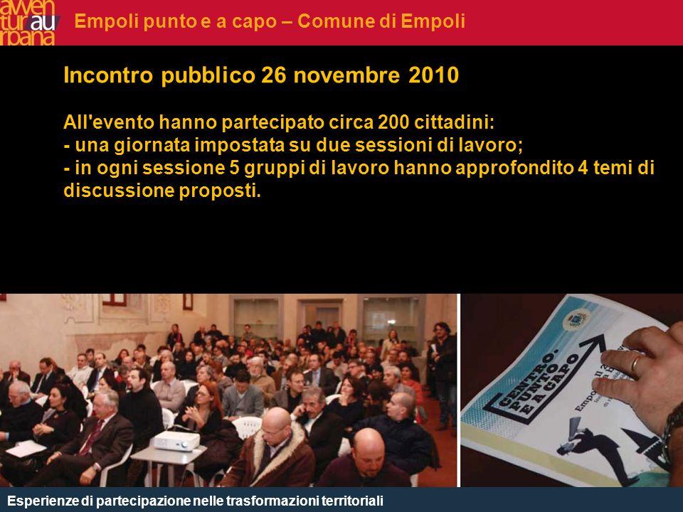 CHE COSè Incontro pubblico 26 novembre 2010 All'evento hanno partecipato circa 200 cittadini: - una giornata impostata su due sessioni di lavoro; - in