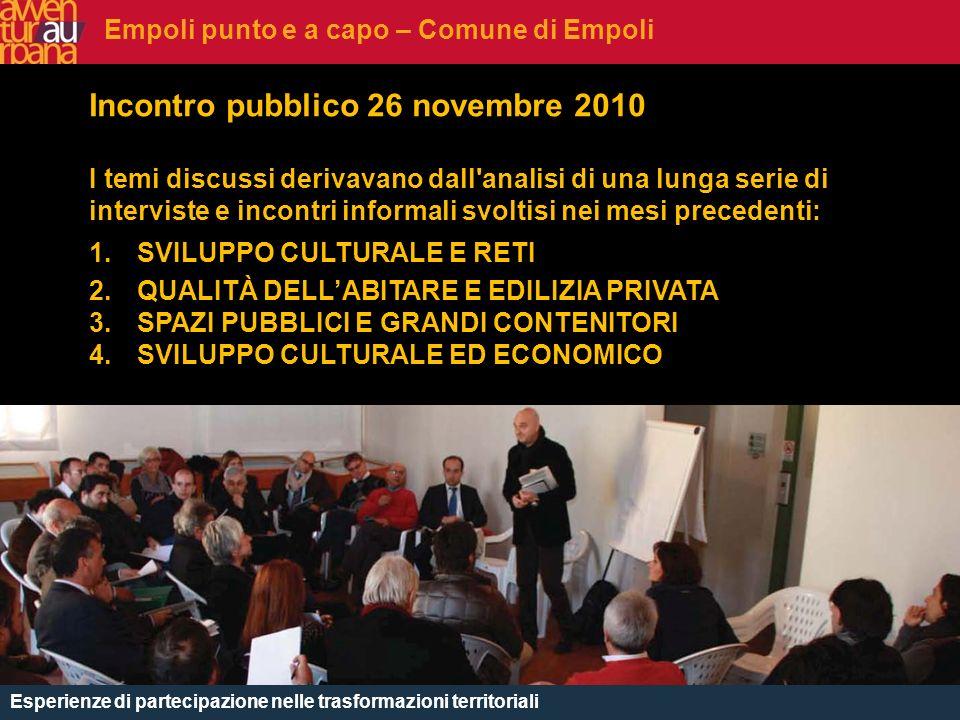 CHE COSè Incontro pubblico 26 novembre 2010 I temi discussi derivavano dall'analisi di una lunga serie di interviste e incontri informali svoltisi nei
